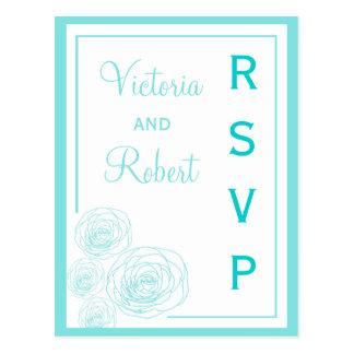 Postal delicada de RSVP de los rosas, turquesa