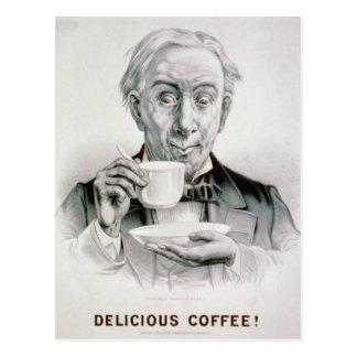 Postal deliciosa del café del vintage