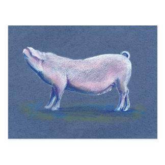 Postal dibujada mano del arte del cerdo del cerdo