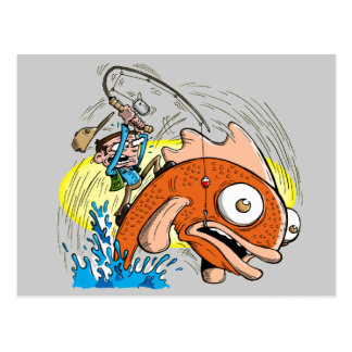 Postal - dibujo animado de la pesca - pescador pri