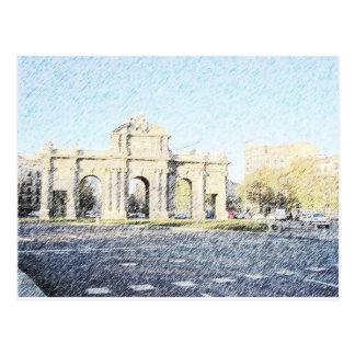 Postal Dibujo Puerta de Alcala