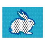 "postal digital de la pintura del ""conejo azul"""