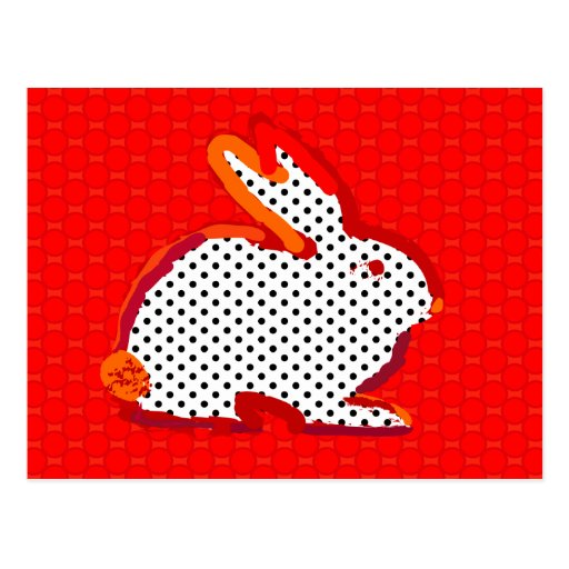 "postal digital de la pintura del ""conejo rojo"""