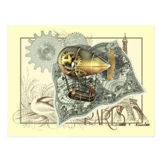 Postal dirigible del viaje del aire de Steampunk
