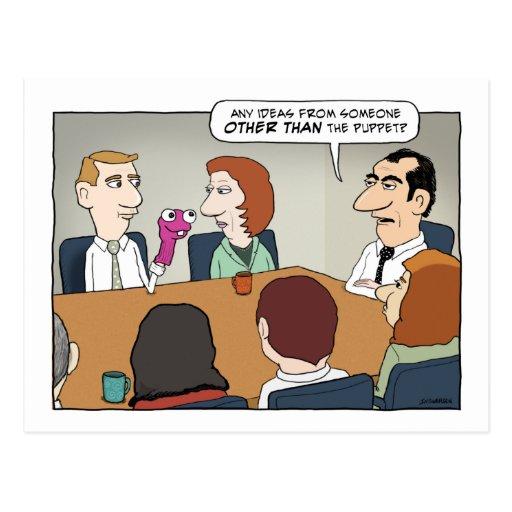 Postal divertida de la marioneta de la oficina