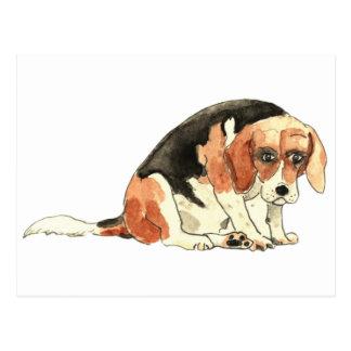 Postal divertida de la novedad del beagle triste