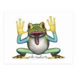 Postal divertida de la postal de la rana