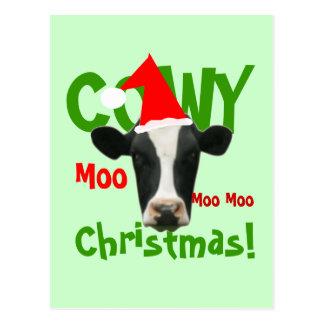 Postal divertida de la vaca de Santa del navidad d