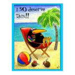 Postal divertida de las vacaciones de la playa del