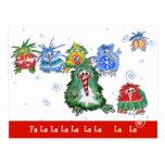 Postal divertida de los pájaros del kiwi del navid