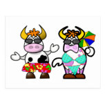 Postal divertida de los pares de la vaca de la pla