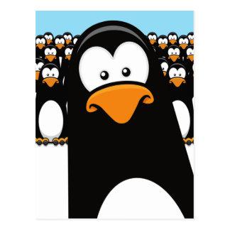 Postal divertida de los pingüinos del dibujo anima
