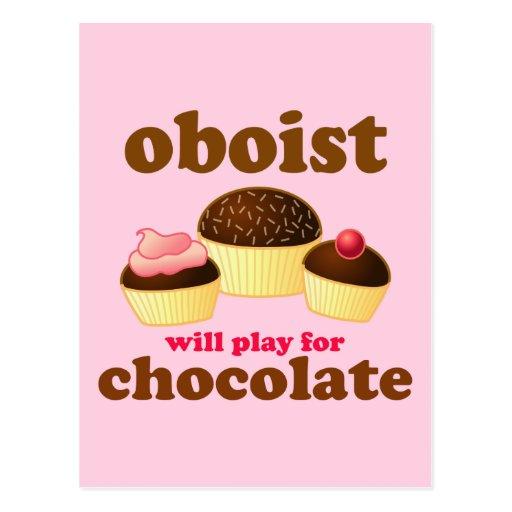 Postal divertida de Oboe del chocolate
