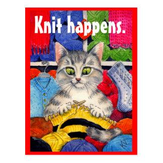 Postal divertida del gatito que hace punto