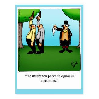 """Postal divertida del """"humor en duelo"""""""