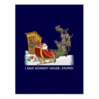 Postal divertida del navidad de la casa de Schmidt