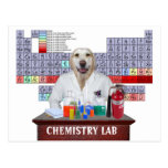 Postal divertida del profesor de la química con el
