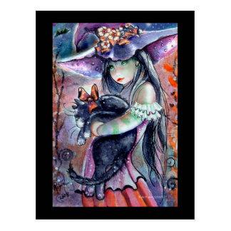 Postal dulce de la bruja y del gatito