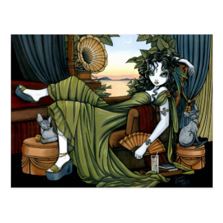 Postal ecléctica de la hada del gato de la puesta