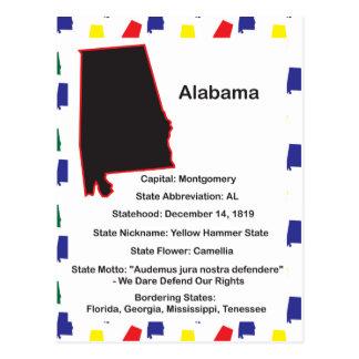 Postal educativa de la información de Alabama