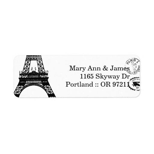Postal elegante de París del vintage de la direcci Etiqueta De Remite