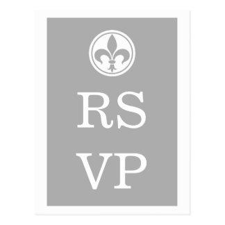 Postal elegante de RSVP de la flor de lis, gris
