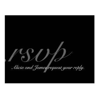 Postal elegante de RSVP del monograma para casarse