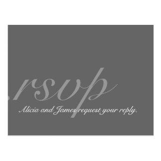 Postal elegante de RSVP para los bodas grises