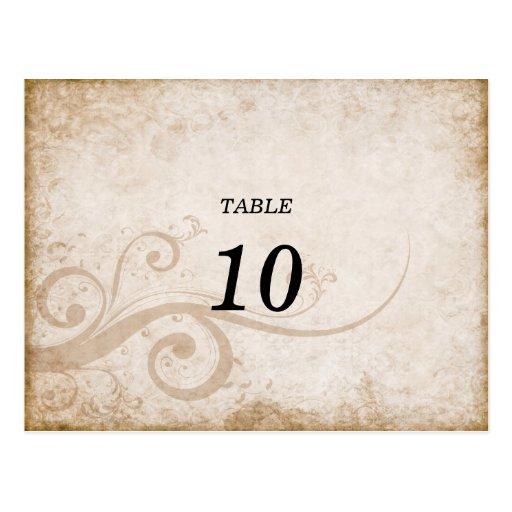 Postal elegante del número de la tabla del vintage
