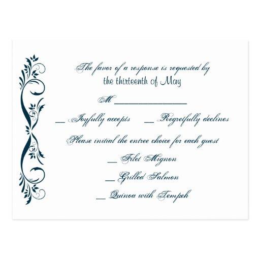 Postal elegante floral azul de medianoche de RSVP