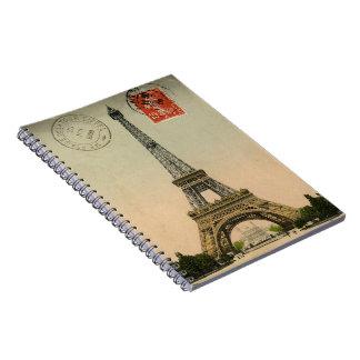 Postal elegante francesa de París de la torre Eiff Spiral Notebook