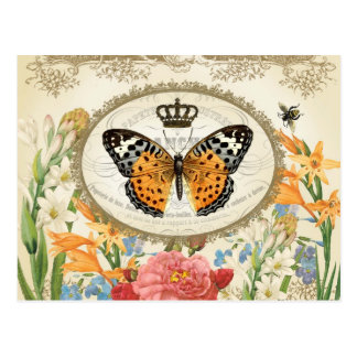 Postal elegante lamentable francesa de Buttefly de
