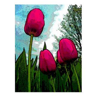 Postal elevada de los tulipanes
