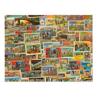 Postal en blanco de las postales del viaje del