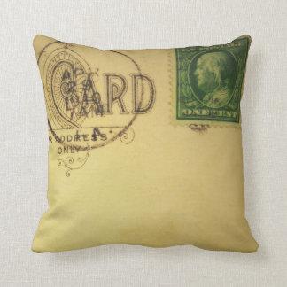 Postal en blanco del vintage - almohadas cojín decorativo