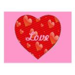 Postal en forma de corazón del amor