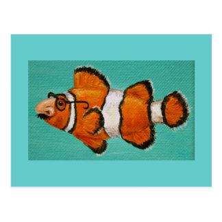 postal enmascarada groucho divertido de los pescad