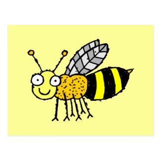 Postal enrrollada de la abeja de la miel de la gra