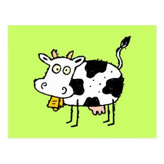 Postal enrrollada de la vaca de la granja