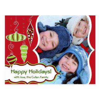 Postal enrrollada del navidad de los ornamentos