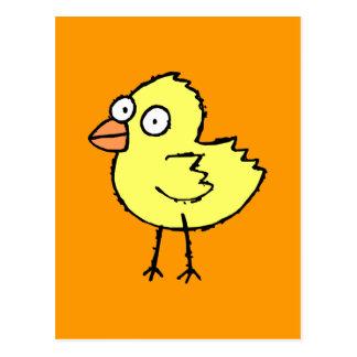 Postal enrrollada del polluelo de la granja