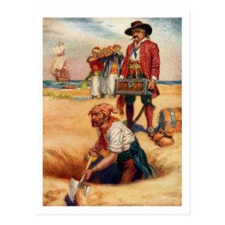 Postal enterrada del pirata del vintage del tesoro