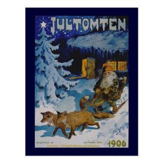 Postal escandinava del navidad del vintage