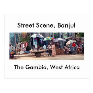 Postal, escena de la calle, Banjul