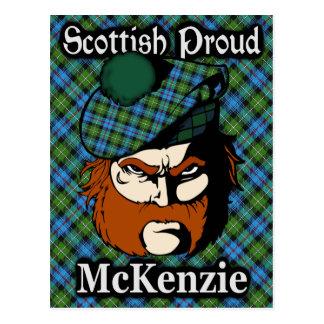 Postal escocesa del tartán de McKenzie del clan