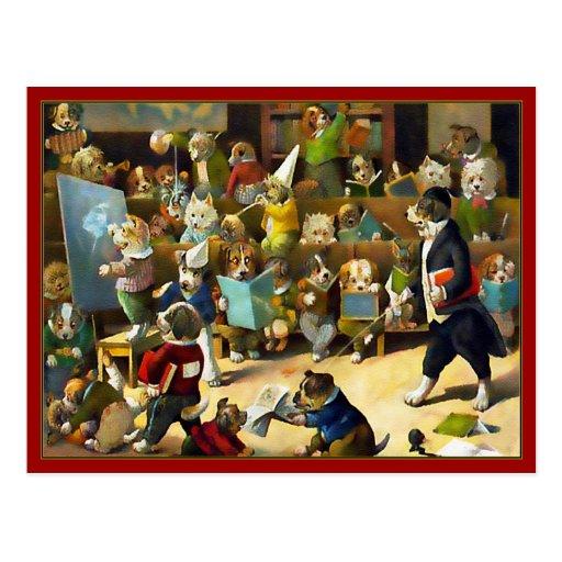 """Postal: """"Escuela del perro"""" por Louis Wain"""