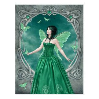 Postal esmeralda de la hada de Birthstone