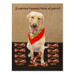Postal española del mascota divertido y ayuda a la