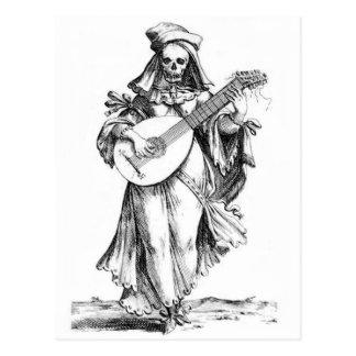 postal esquelética de la cantatriz de la mujer her