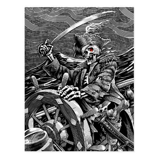 Postal esquelética del pirata de BW